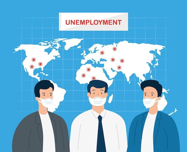 Coronavirus, disoccupazione, disoccupati dal 19 covid, società chiusa e affari chiusi, uomini d'affari con il disegno dell'illustrazione della mappa di mondo