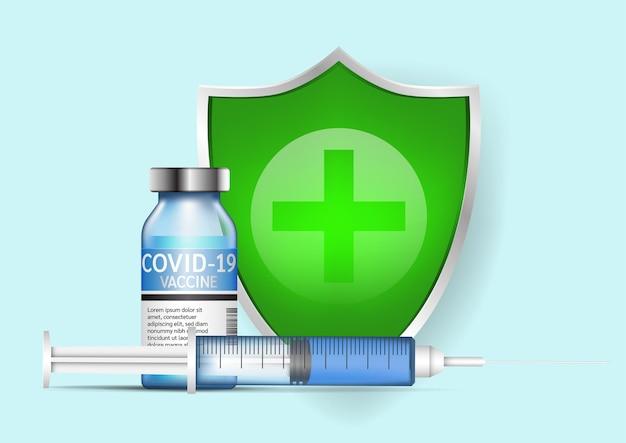 Concetto di sfondo di vaccinazione contro il coronavirus. illustrazione vettoriale