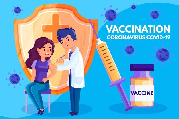 Concetto di sfondo di vaccinazione contro il coronavirus Vettore Premium