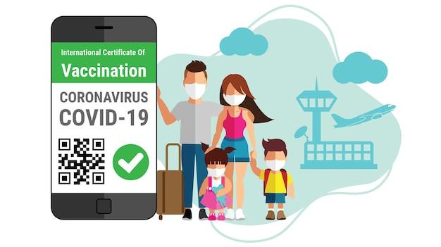 Certificato di vaccinazione contro il coronavirus epassaporto nell'app mobile per smartphone per il concetto di viaggio travel