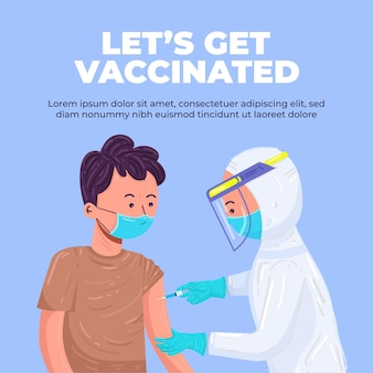 Vaccinazione contro il coronavirus, il personale medico inietta il braccio del paziente. personale medico in abbigliamento protettivo e maschere, processo di immunizzazione contro covid-19. vacciniamoci. illustrazione vettoriale carino