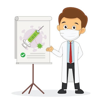 Concetto di sviluppo del vaccino contro il coronavirus gratuito con il medico