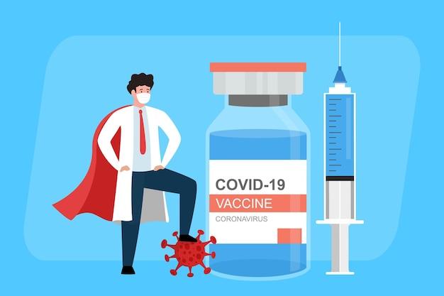 Vaccino contro il coronavirus combattere la malattia medico con una grande siringa per l'iniezione del vaccino