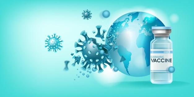 Concetto di pandemia medica del vaccino contro il coronavirus con molecola di malattia