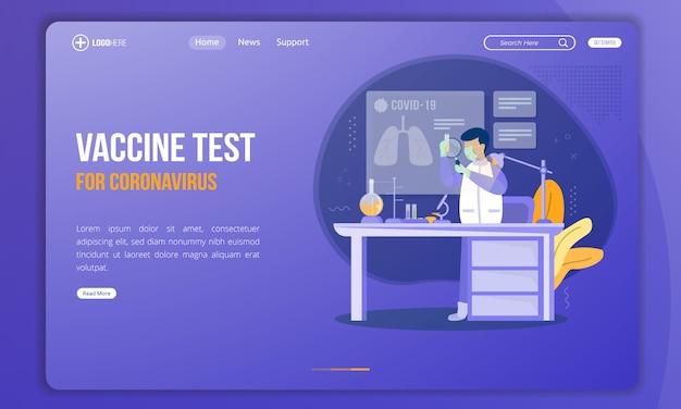 Illustrazione del test del vaccino contro il coronavirus alla pagina di destinazione