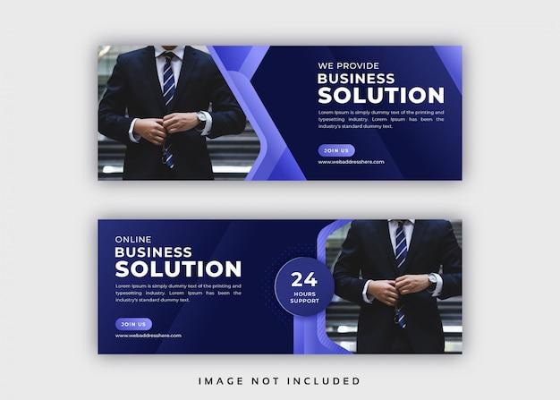 Modello di copertina facebook aziendale astratto Vettore Premium
