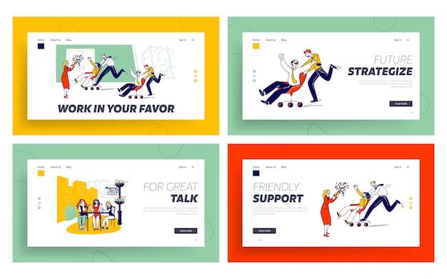 Attività aziendale, concorrenza dei dipendenti, modello di pagina di destinazione di conversazione fastidiosa. Vettore Premium