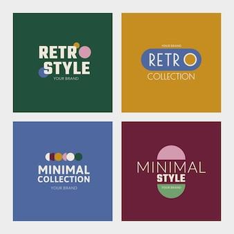 Vettore di loghi distintivi aziendali in set colorato in stile retrò