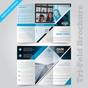 Brochure aziendale blu a tre ante
