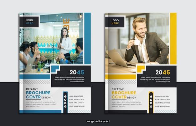 Set design per copertine di libri aziendali con colore giallo, blu e forme minimali.
