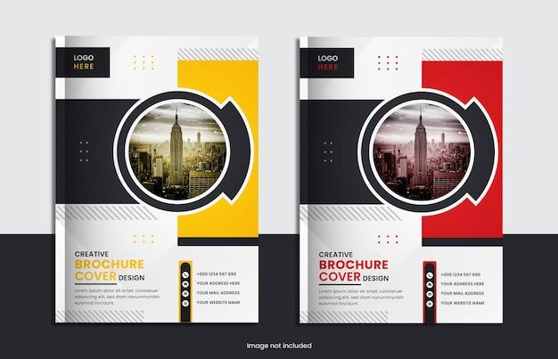 Set design per copertine di libri aziendali con colore giallo, rosso e forme minimali.
