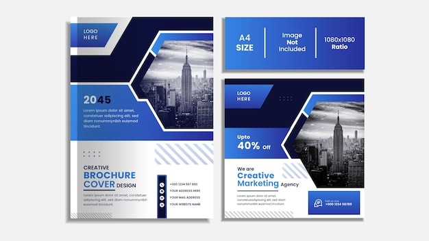 Copertina del libro aziendale e set di post sui social media con forme creative.