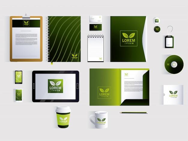 Identità del marchio aziendale su bianco