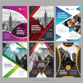 Collezione di brochure aziendali per la progettazione di modelli