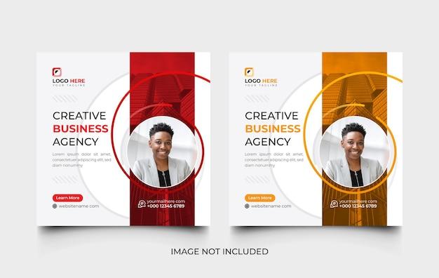 Set di modelli di social media dell'agenzia aziendale aziendale