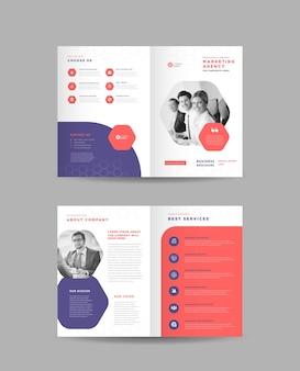Brochure aziendale bifold design, company profile handout design