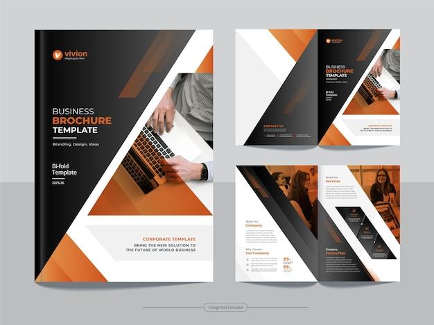 Modello di brochure bifold di affari aziendali con disegno astratto