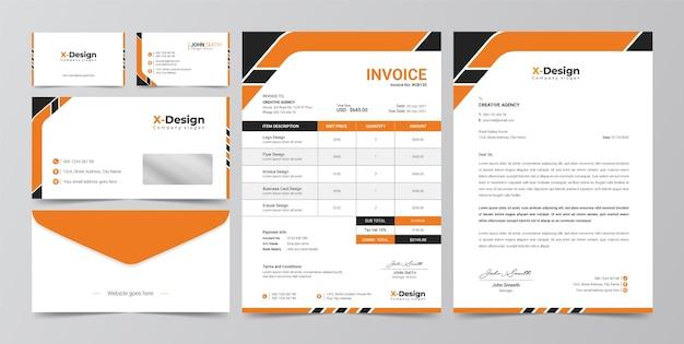Identità del marchio aziendale aziendale, carta intestata, biglietti da visita, fattura, design busta