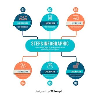 Modello di business aziendale infografica, composizione di elementi di infografica Vettore Premium