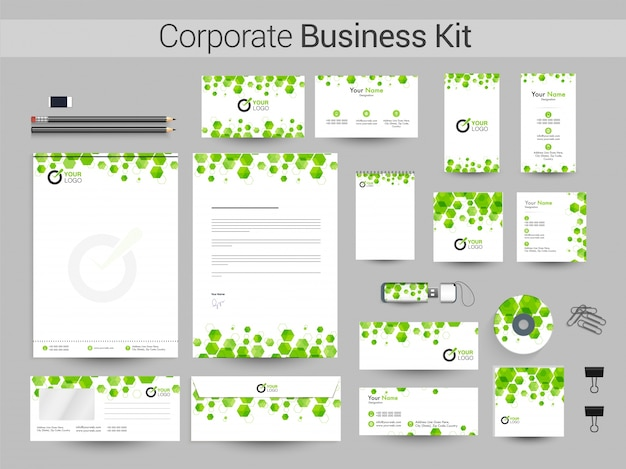Kit aziendale aziendale con forme esagonali verdi.