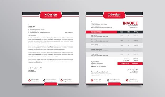 Modello di carta intestata e fattura aziendale aziendale modello di progettazione dell'identità del marchio aziendale