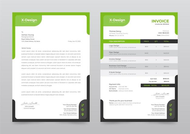 Carta intestata aziendale e modello di fattura