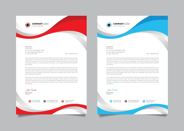 Carta intestata aziendale con forma sinuosa rossa e blu