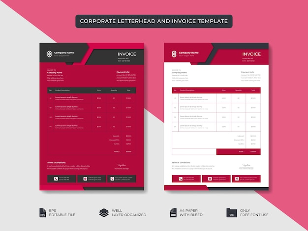 Business aziendale minimale elegante carta intestata e modello di fattura design dell'identità del marchio aziendale