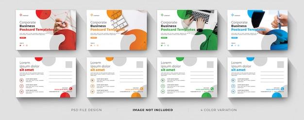 Modelli di cartoline aziendali aziendali con set di variazioni di colore