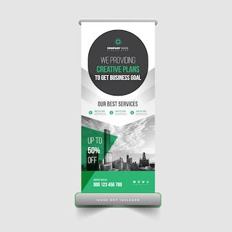 Modello di progettazione di banner roll up aziendali e aziendali Vettore Premium