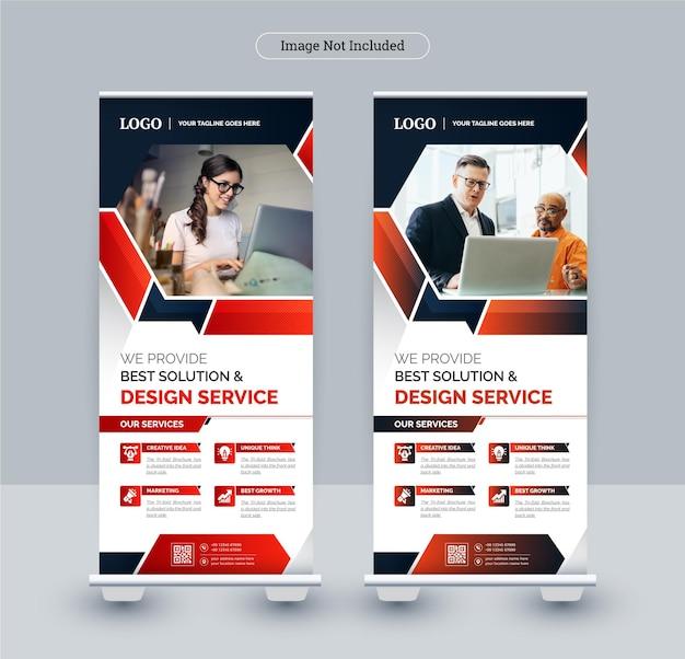 Modello di banner roll up business aziendale, tema astratto colorato design