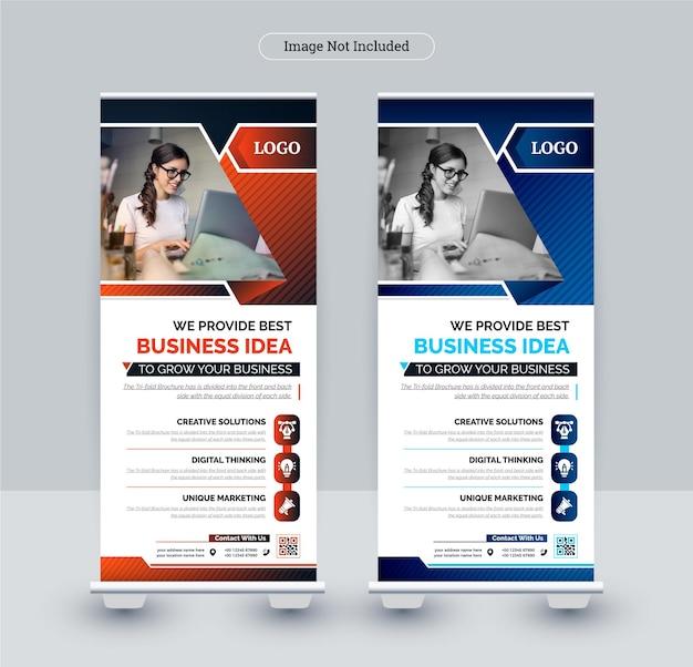Modello di banner roll up business aziendale, tema astratto colorato design Vettore Premium