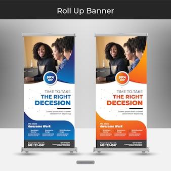 Modello aziendale banner roll up o stand con disegno astratto Vettore Premium