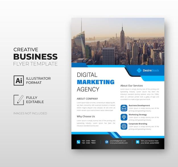 Volantino modello di business aziendale blu