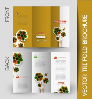 Business aziendale ripiegabile a tre ante e design di brochure