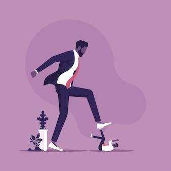 Affari aziendali che cercano di distruggere l'uomo d'affari concetto di concorrenza aziendale vs piccola impresa