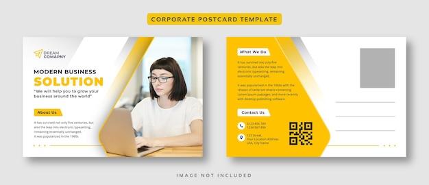 Modello di cartolina giallo di affari aziendali