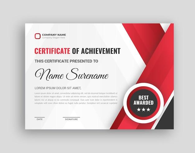 Design del certificato aziendale nei colori rossi