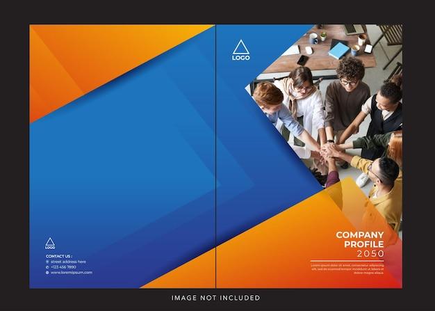 Profilo aziendale aziendale copertina blu arancione