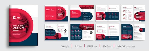 Progettazione del layout del modello dell'opuscolo del profilo aziendale aziendale design dell'opuscolo aziendale con forme di colore rosso