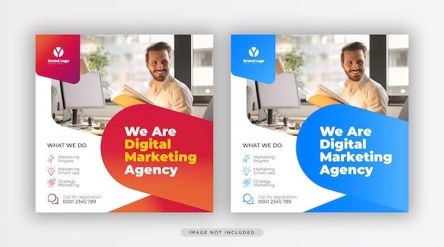 Modello di banner sui social media per la promozione del marketing aziendale e digitale aziendale