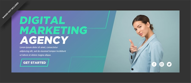 Progettazione dell'agenzia di copertina di facebook di marketing digitale aziendale