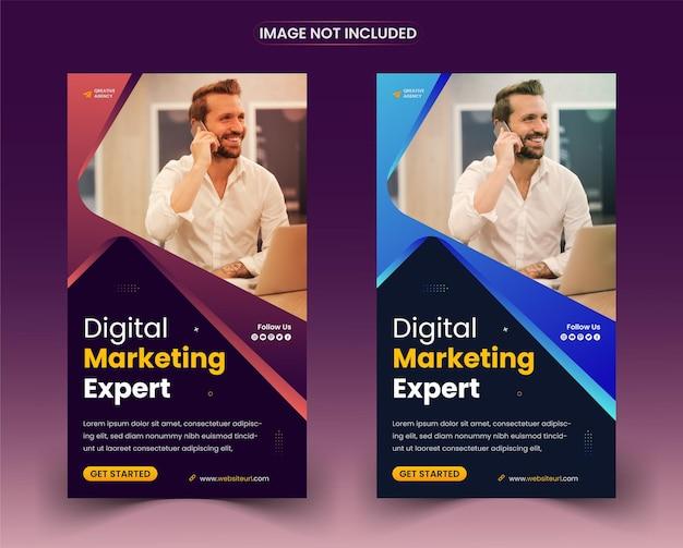 Modello di storie di instagram sui social media per la promozione del marketing digitale aziendale