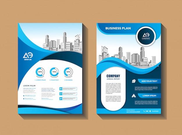 Modello di layout volantino aziendale con elementi e segnaposto per foto