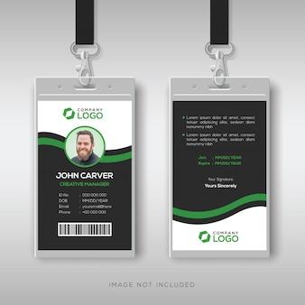 Modello di carta d'identità aziendale con dettagli verdi