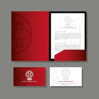 Marchio di identità aziendale, brochure e biglietti da visita di colore rosso con segno bianco