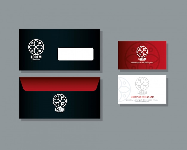 Marchio di identità aziendale, buste e biglietti da visita di colore rosso con segno bianco
