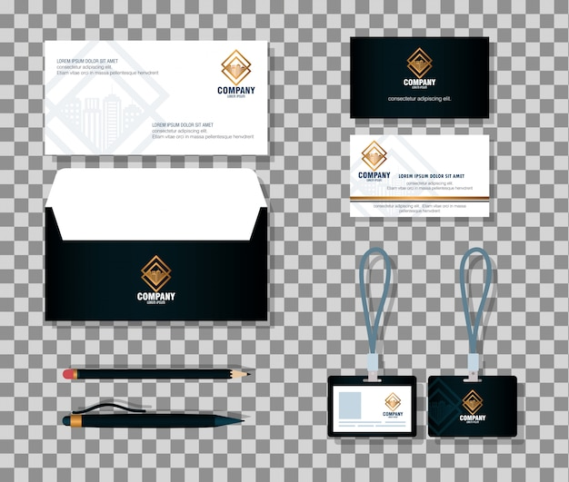 Mockup del marchio di identità aziendale, articoli di cancelleria, colore nero con segno dorato