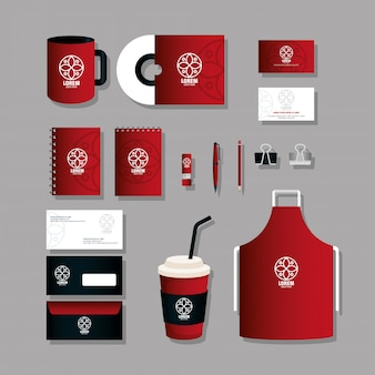 Marchio di identità aziendale, set di cancelleria aziendale, nero e rosso con segno bianco