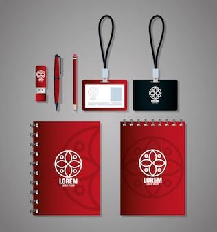 Marchio di identità aziendale, set di cancelleria aziendale, rosso e nero con segno bianco